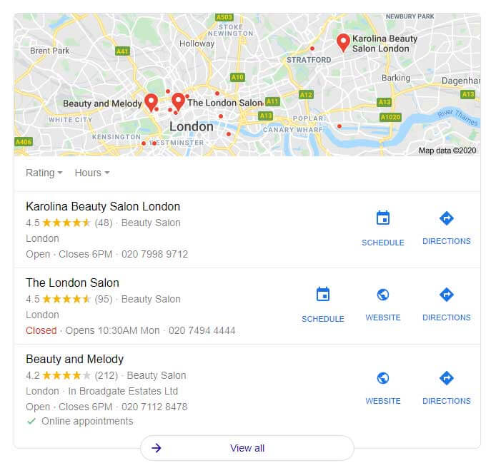 local seo for salons and how to appear high in google searches map pack