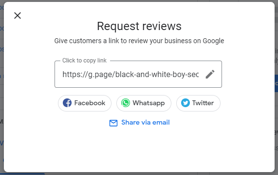 share your Google my business review link