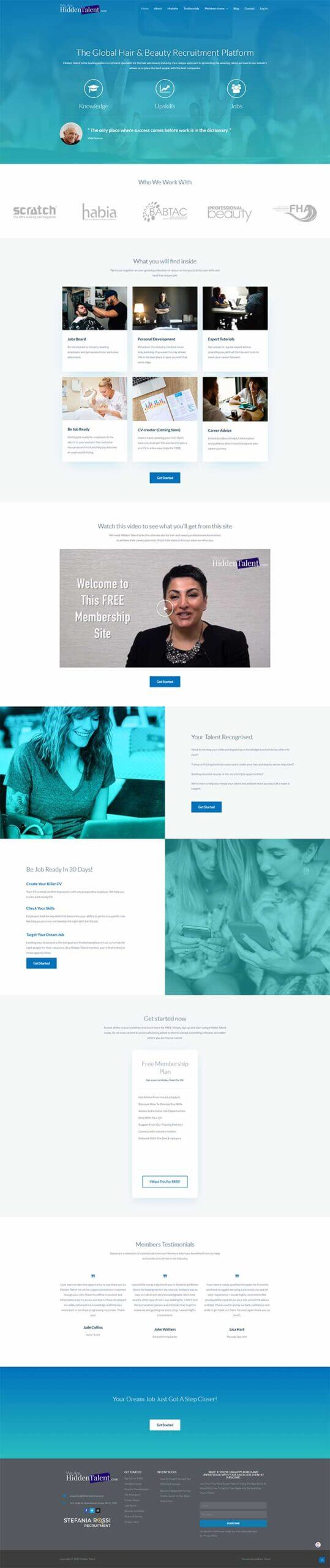 beauty industry recruitment platform website design